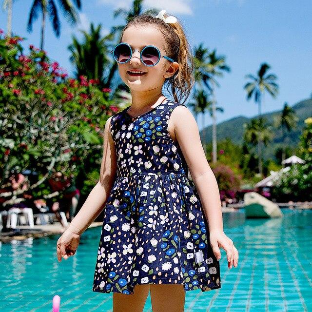 Balabala bé gái Hoa Đầm dễ thương cổ Đầm cho bé gái quần áo sát nách trang phục váy bé gái 2018 cho mùa hè