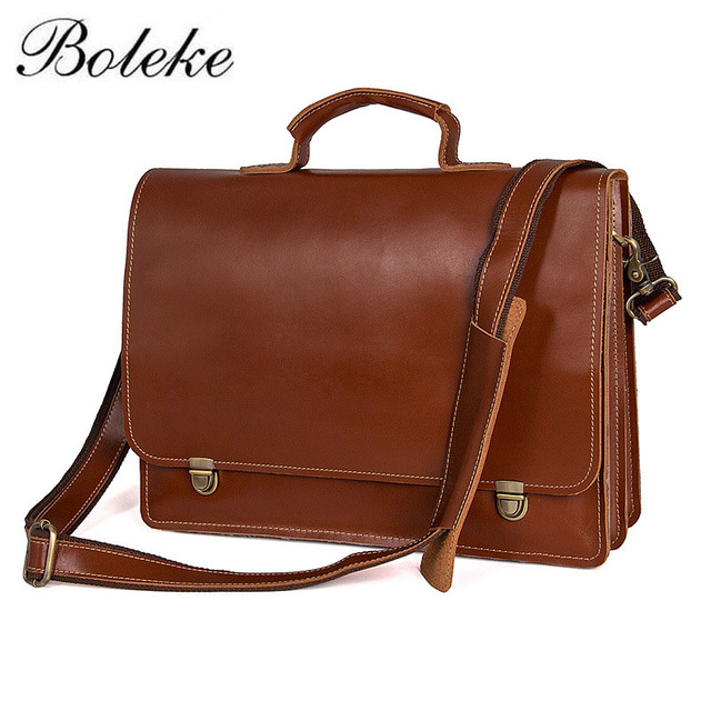 Men Briefcase Genuine Leather Bag Full Grain Handbags Office For Messenger