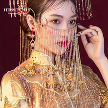HIMSTORY Vintage Chinese Curtain Facial MAsk Handmade Gold Pearl  Long Chain Tassel Bridal Wedding Face Jewelry