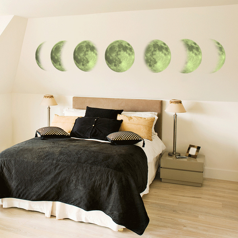 Luminous Moon phase 3D Wall Sticker living room wall decoration Mural Art Decals background decor Glow in the dark stickers in Wall Stickers from Home Garden