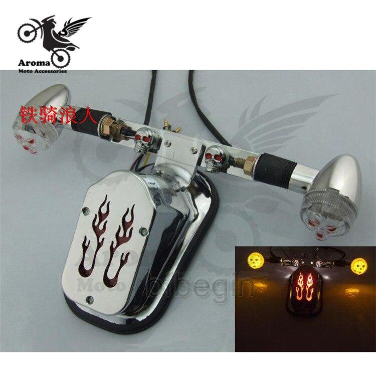 fire decal motorcycle brake light motorbike tail light motocross turn signal indicator skull ATV LED red scooter blinker moto