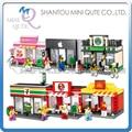 Mini Qute HSANHE 6 estilos kawaii alimentos al por menor tienda de la tienda de diamante para niños bloques de construcción de plástico de ladrillo modelo de juguetes educativos
