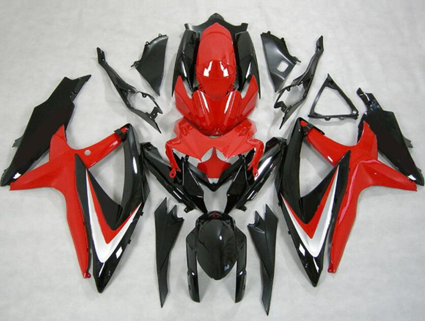 3Gifts New ABS Fairings Kit 100% Fit For SUZUKI GSXR600 GSXR750 08 09 10 R600 R750 <font><b>K8</b></font> <font><b>GSXR</b></font> <font><b>600</b></font> 750 <font><b>2008</b></font> 2009 2010 Red black image