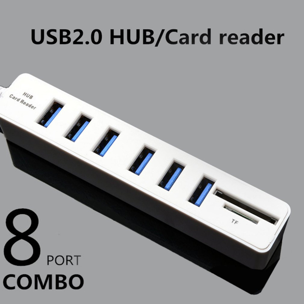 High Speed 480 Mbps 6 Ports SB 2.0 Hub TFSD Card Reader USB Splitter for PC Laptop Computer for Windows for Vista for Mac OS