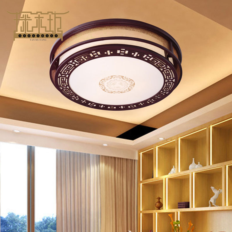 The Study Of Modern Chinese Air Living Room Bedroom Lamps Lighting Round  Wood Antique Parchment Ceiling