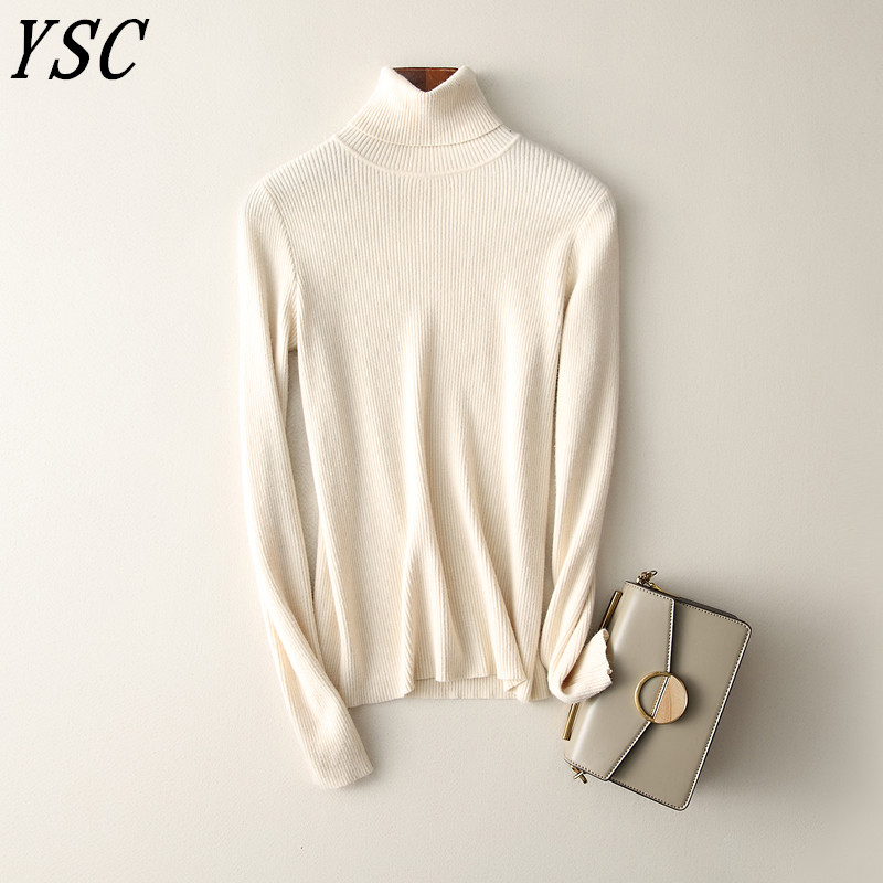 YUNSHUCLOSET 2018 Winter Hot Sales Women s Knitted Cashmere Wool Sweater Turn down Collar Solid color
