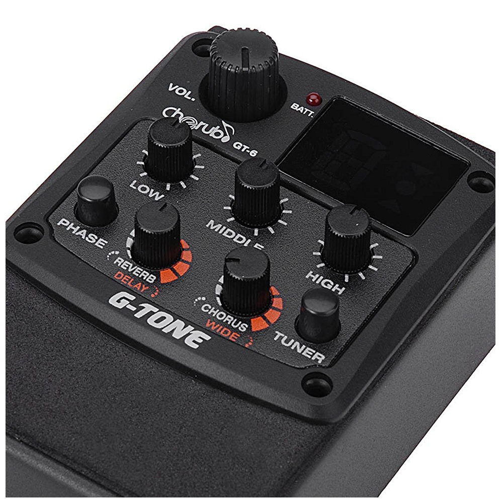 New Cherub G-Tone GT-6 Acoustic Guitar Preamp Piezo Pickup 3-Band EQ Equalizer LCD Tuner with Reverb/Chorus Effects 4 band eq 7545 guitar piezo preamp amplifier equalizer tuner for acoustic guitar comp parts
