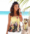 2016 Verano Sexy Hombro de la Raya Vertical de Cuello Camiseta de La Vendimia Flores Imprimir Tube Tops Tees Mujeres Corto Casual Tops S2401