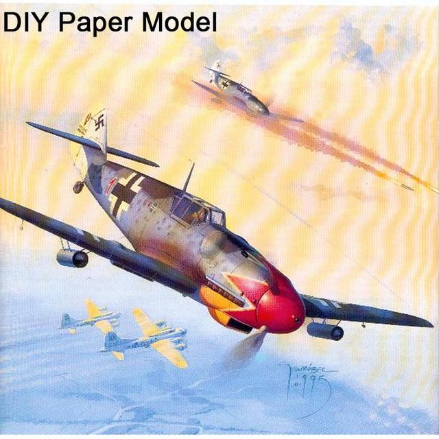 124 Scale DIY Paper Model Messerschmitt Bf 109 G Aircraft Pepercraft Military Funs Gifts Boy Birthday Christmas Presents