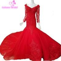 Romantyczny Sexy Mermaid Suknie Ślubne Red Lace Up Suknie Ślubne Lace Aplikacja Suknie Ślubne Klienta Wykonane 2018 Plus Suknie Ślubne