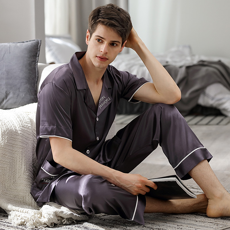 Fashionable Pajamas Male Summer Silk Satin Short-Sleeve Long Pants Two-Piece Sets Ice Silk Sleepwear Thin Homewear Man X90012