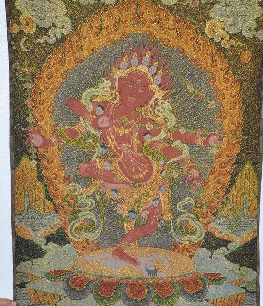 """35""""Tibet Silk Embroidery buddhism Art Tangka 4 arm 3 eye Exorcism god statue
