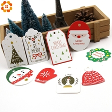 50 шт., много стильных рождественских бумажных ярлыков, поделок для рукоделия, этикеток для рождественской вечеринки, бирки для банкнот, упаковочные материалы для подарков