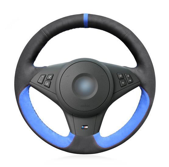 Black Suede Blue Suede Hand Sew Comfortable Car Steering Wheel Cover for BMW E60 M5 2005 2008 E63 E64 Cabrio M6 2005 2010