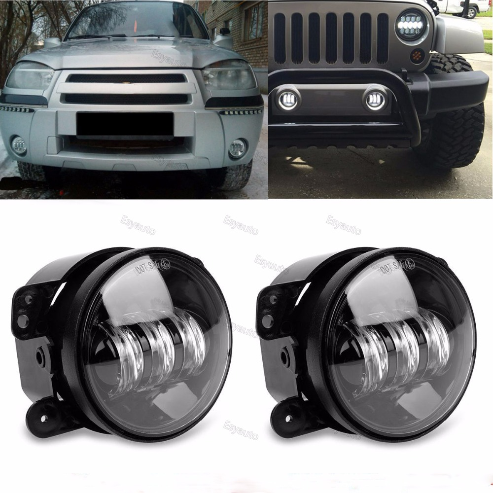 4 inch fog light 30W LED Lamp 4'' Fog Lamps Auxiliary Passing Light white DRL for Jeep Wrangler JK CJ TJ 4 in projector led auxiliary fog lamps 4 inch 30w fog light led car light for jeep wrangler tj 2 pcs set