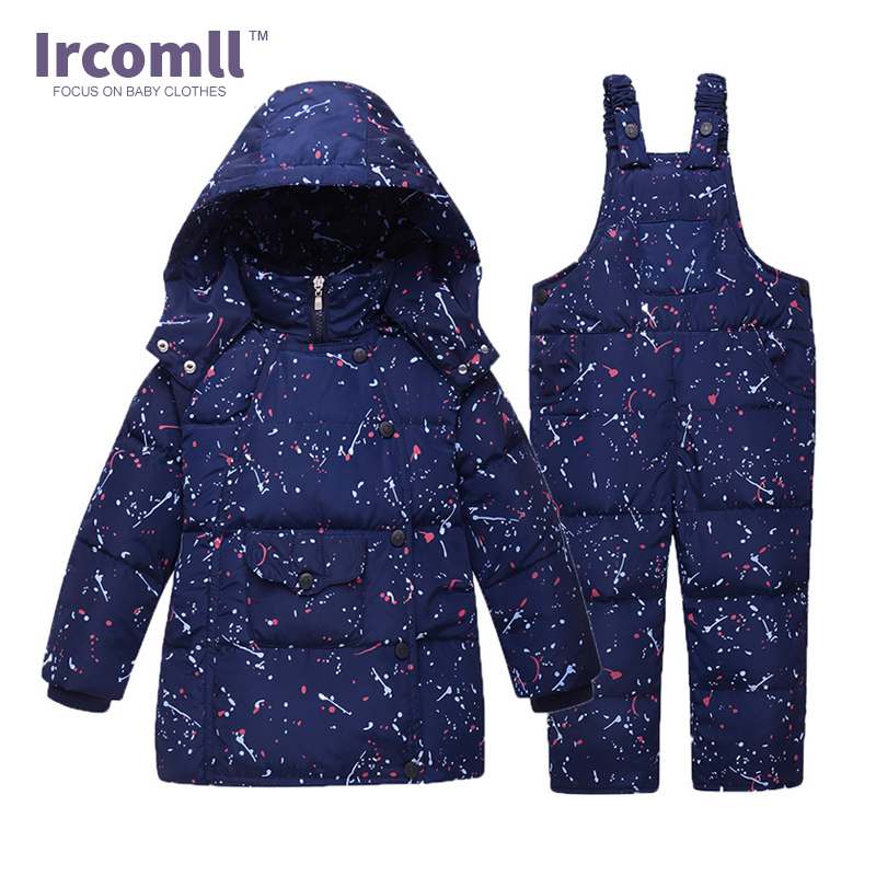 Ircomll Newest Thick Boys Clothing Set Kids  Down Jacket Suit Set Waterproof Snow Warm Coat+Jumpsuit Baby Clothes For 12M-3T 2017 new baby down coat set winter warm thick cartoon down jacket set fashion outerwear for boys girls kids clothes set