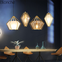 Nordic Gold Plate Pendant Lights Glass Hanglamp Diamond Hanging Lamp Led Lamps for Living Room Kitchen Light Fixtures Luminaria