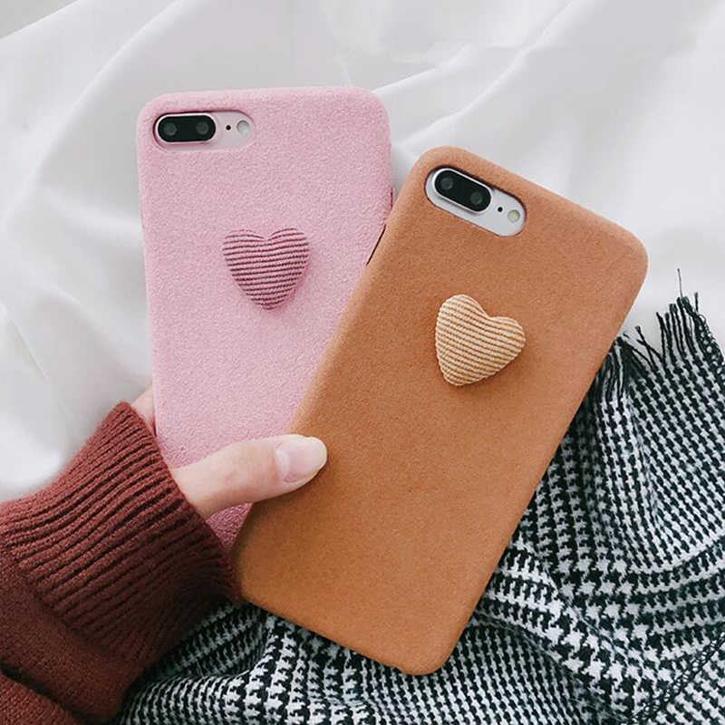 366eee0927 BINYEAE Winter Warm Plush Love Heart Phone Cases For iPhone 6 6S 7 8 Plus  Cover