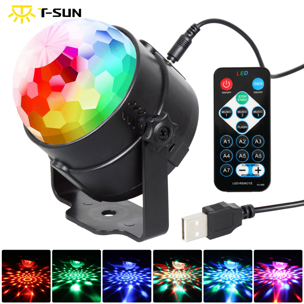 T-SUNRISE 3W DJ Disco Ball Stage light RGB Stage Lighting Effect Laser Party Light LED Light stage projector for Party discolamp mini rgb led stage light 3w remote controls light disco ball lights led party lamp show stage lighting effect usb powered dv 5v
