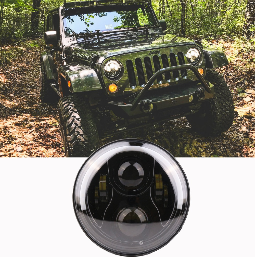 For Lada 4x4 urban Niva 7 Inch Round LED Headlights High Low Beam Angel Eyes DRL Amber Turn Signal for Jeep Wrangler JK 7inch led motorcycle headlights 7 round 40w high low beam with angel eyes for 97 2015 jeeps wrangler jk