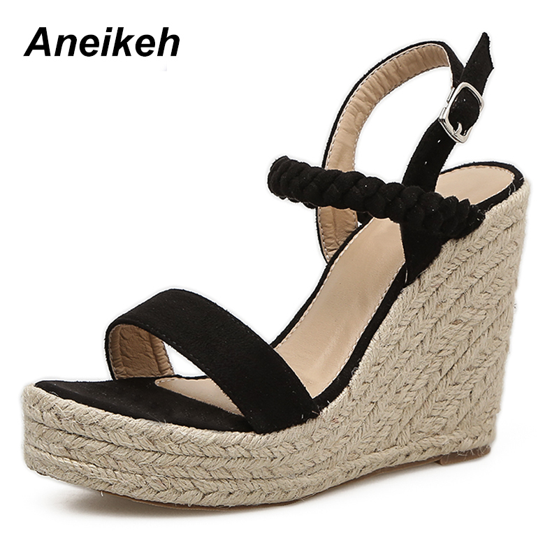 Aneikeh 2019 Women Wedge Espadrilles Sandals Summer Platform Ankle Strap Buckle Shoes 11 CM High Hemp Wedges Heels Bohemia PumpsAneikeh 2019 Women Wedge Espadrilles Sandals Summer Platform Ankle Strap Buckle Shoes 11 CM High Hemp Wedges Heels Bohemia Pumps