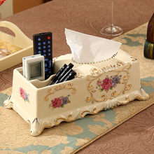European style luxury ceramic tissue box decoration living room multifunctional mobile phone remote control storage