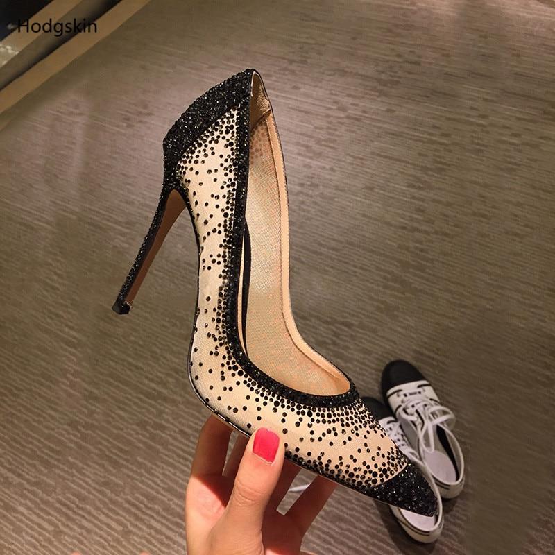 Dedo En 9cm Vestido Sapato Mujeres Mujer Tacones Deslizamiento De Altos Negro Sexy Bling Encaje Zapatos Del 9cm Nude Pie 6cm Descuento Feminino Boda 6cm Puntiagudo 6qwHR5B