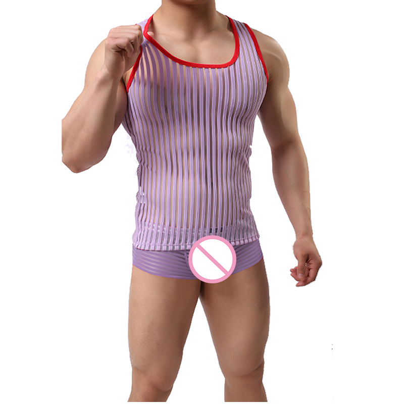 Mens Mesh Vest Beach Casual Transparent Muscle See-Through Gyms Fitness Breathable Tank Tops Sleeveless Undershirt