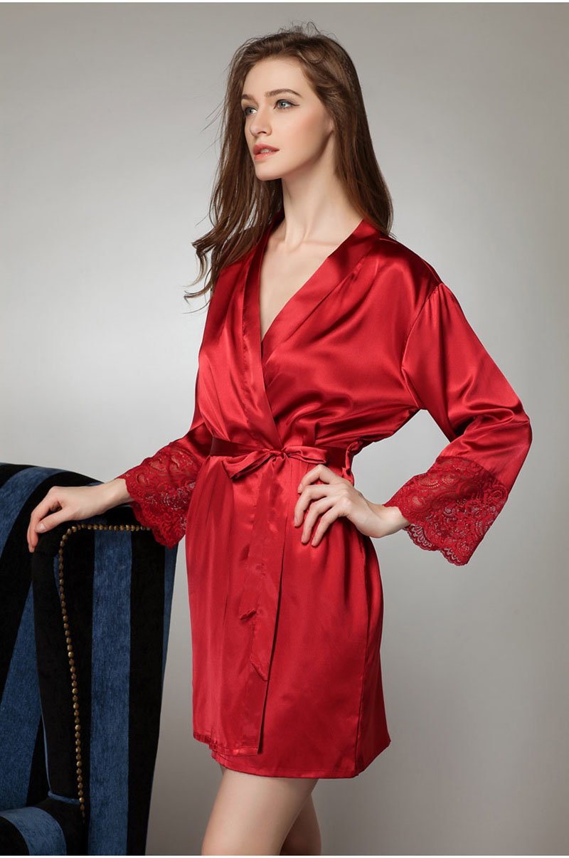 Mid sleeve sexy women nightwear robes plus size M L XL lace real silk  female bathrobes free shipping 2016 vs brand hot-in Robes from Underwear    Sleepwears ... ccfe83fa6