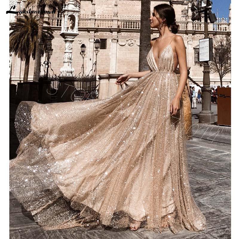 Elegant Sparkling Gold Glitter   Evening     Dresses   Dubai Spaghetti Straps Sexy V-neck Backless Gloss A-Line long Prom   Dresses