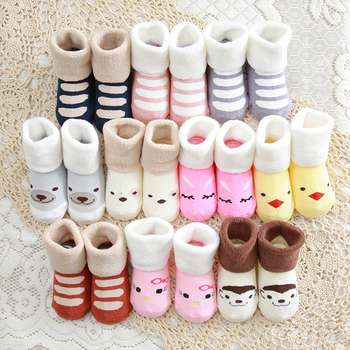 Spring and autumn colourful Socks for 0-1 years old newborn baby winter socks thickening children's cotton warm socks with terry