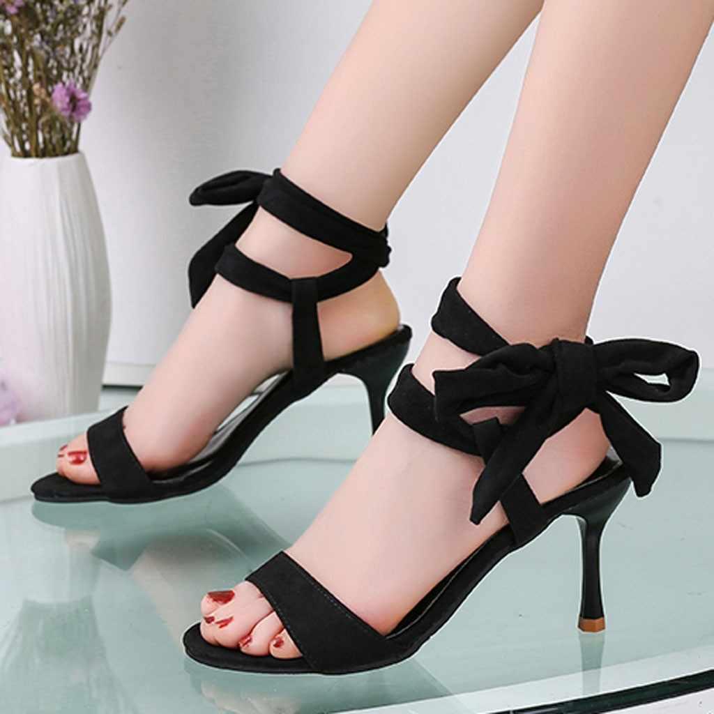 SAGACE Sexy Lace Up Sottile Super-Alti Sandali Tacco Delle Signore Delle Donne Eleganti Scarpe Casual Estate Nuovo Arrivato Sandali Femminili Nero scarpe