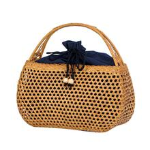 Bohemian Manual Rattan Woven Cutout Beach Bag Retro Straw Braided Hand Fashionable Household Storage