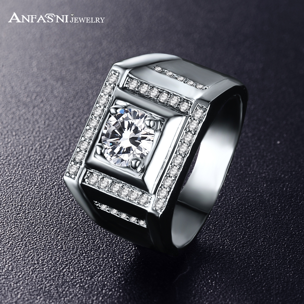 Anfasni Top Quality Punk Ring Wide Unique Wedding Rings For Men With Aaa  Zirconia Square Ring Cri0416b