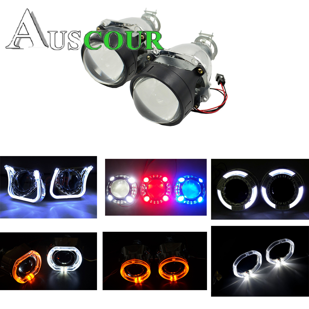 3.0 2.5 inch car styling hid bixenon Projector lens led day running DRL angel eyes shrouds mask fit h1 h4 h7 car assembly kit safego h1 h7 h4 mini 2 5 inch bixenon projector lenses mask shroud double angel eyes car hid headlight projector kit lens