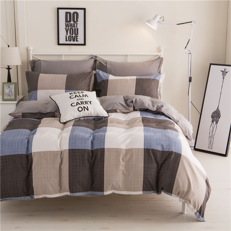European Gray Large Grid Pattern Bedding Sets Soft Kids Duvet Cover Set Quilt Cover Bed Set Single King Queen Double Bedclothes