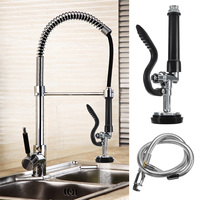 Xueqin Black Kitchen Pull out Pre Rinse Faucet Tap Spray Head Portable Adjustable Sprayer With Stainless Steel Flexible Hose
