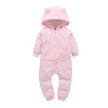 Baby girl Rompers Winter Thick Warm Baby boy Clothing Long Sleeve Hooded Jumpsuit Kids Newborn Outwear for 0-24m pink