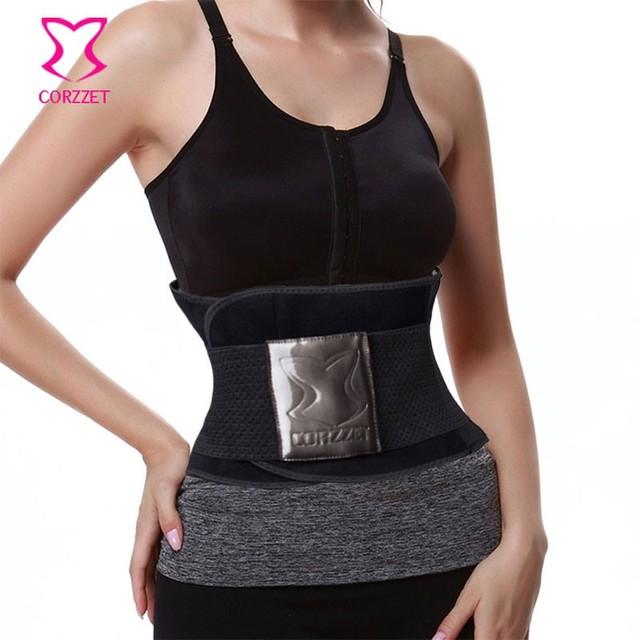 Corzzet negro cintura cincher entrenador hot body shaper cintura trainer control faja cinturón de cintura de cincher underbust corsé