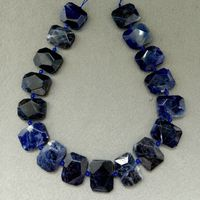 8SE11245 Blue Sodalite Slab Cushion Nugget Slice Pendant Focal Beads15.5 Strand