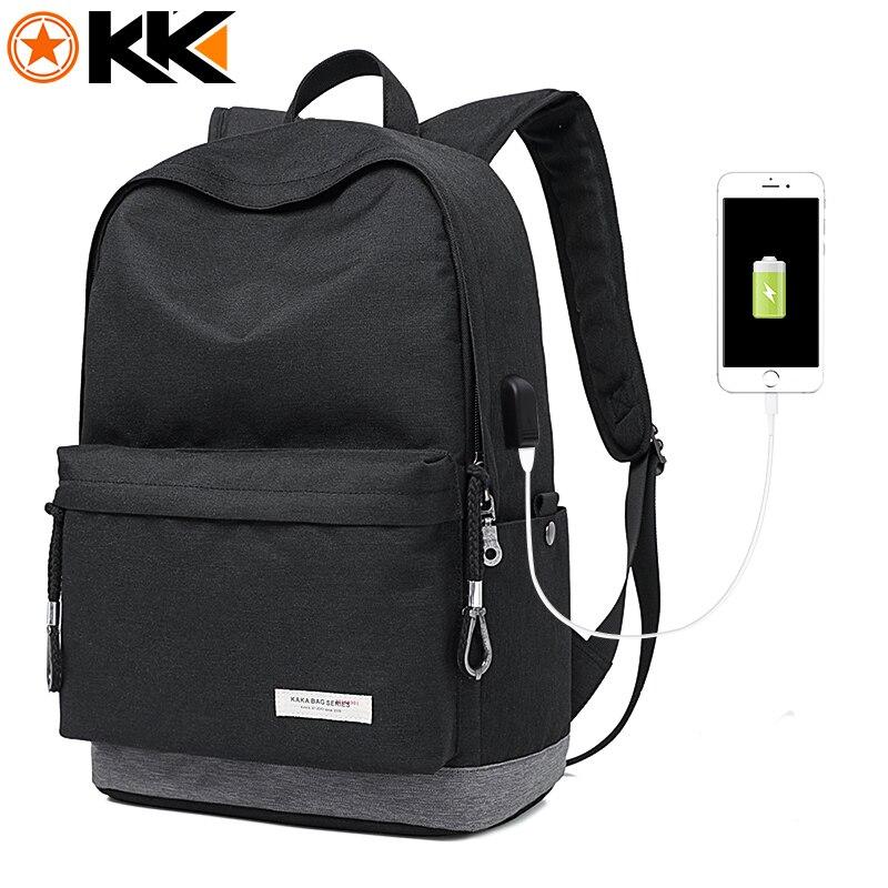 KAKA Casual Laptop Rucksack Männlichen USB Lade Nylon Wasserdicht Männer Rucksack Mochila Schwarz Schul Rucksäcke Tasche für Jugendliche