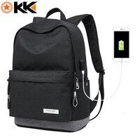 KAKA Male Laptop Backpack For Men USB Design Women Travel Backpacks Carrier Student School Bags For