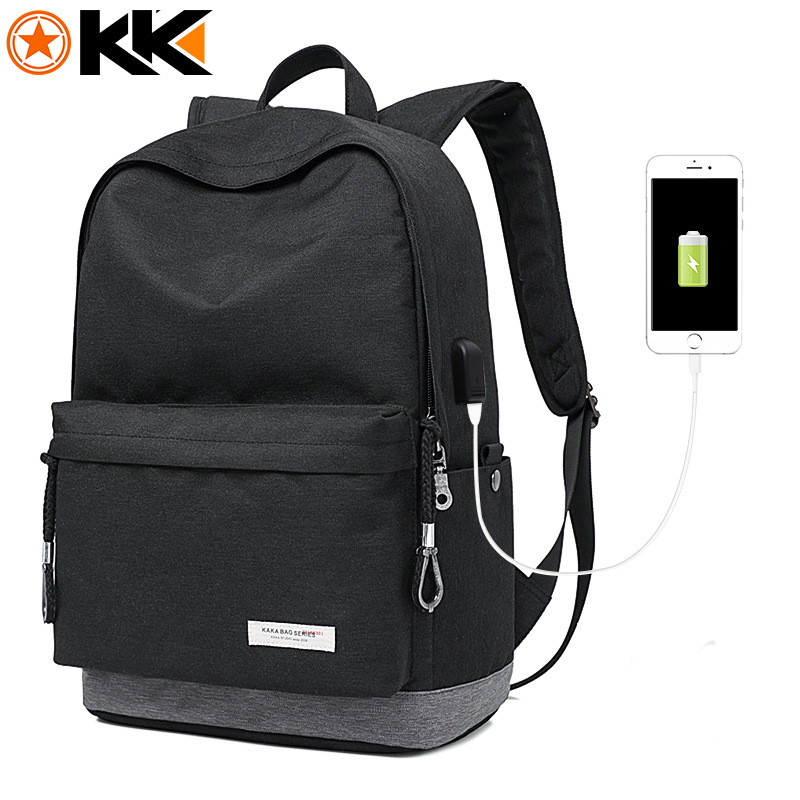KAKA Male Laptop Backpack for Men USB Design Women Travel Backpacks Carrier Student School Bags for Teenagers Black Mochila 2199 ozuko multi functional men backpack waterproof usb charge computer backpacks 15inch laptop bag creative student school bags 2018