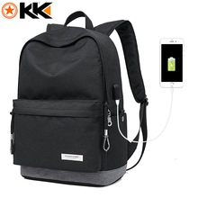KAKA Male Laptop Backpack for Men USB Design Women Travel Backpacks Carrier Student School Bags for Teenagers Black Mochila 2199(China)