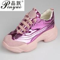 9d1bde06c 2019 Retro Women Harajuku Shoes Laser Silver Sports High Heels Sneakers  Women S Casual Platform Shiny