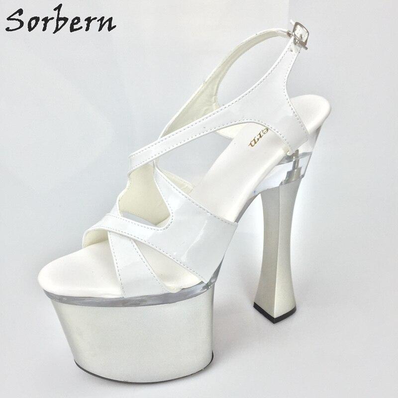 Sandales Talons Femmes Cm Chaussures Chunky Bride Blanc D'été Sorbern Carré Piste Slingbacks Couleurs À La 18 Hauts Personnalisé Cheville 86qwndP