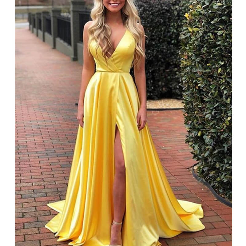Sexy Deep V-Neck Yellow Evening Dresses Long Charming Royal Blue Backless Slit Prom Gowns Green Halter Formal Part Dresses