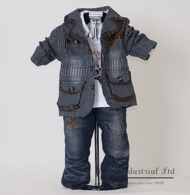 Black Striped Kids Clothes Set For Boys 3PCS Suit and T Shirt and Jeans 2014 New Autumn Baby Clothing 100% Same Like Picture