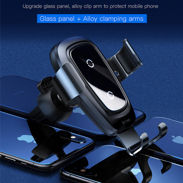 Baseus Qi Wireless Charger Car Phone Holder for iPhone 11Pro Samsung Mobile Phone Holder Stand Air Vent Mount Gravity Car Holder 6