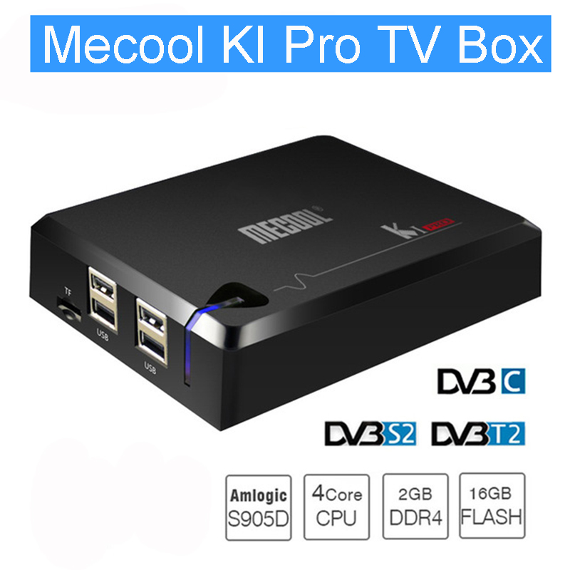 цена MECOOL KI PRO Android 7.1 TV Box KI Amlogic S905D Quad Core 64 bit DVB-T2 DVB-S2 DVB-C 2G 16G Set Top Box Support CCCAM NEWCAMD